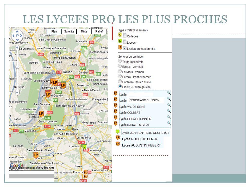 Collège Jacques-Emile Blanche/EP/15/11/2011 LES LYCEES PRO LES PLUS PROCHES FERDINAND BUISSON