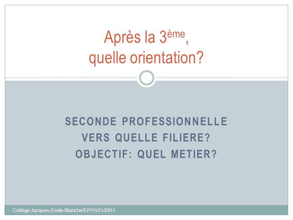 Collège Jacques-Emile Blanche/EP/15/11/2011 SECONDE PROFESSIONNELLE VERS QUELLE FILIERE? OBJECTIF: QUEL METIER? Après la 3 ème, quelle orientation?