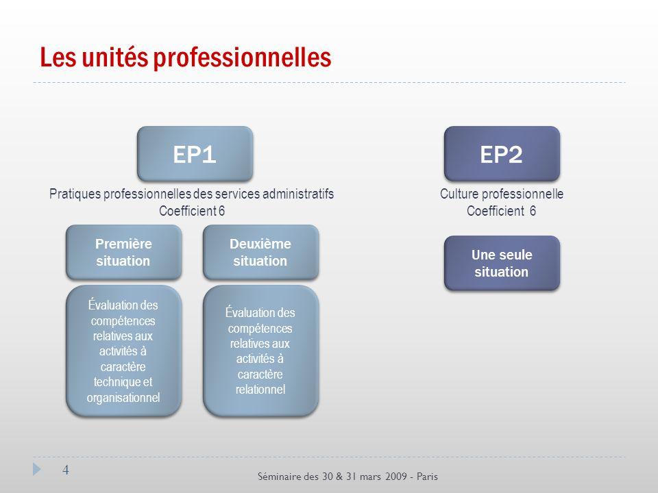 Les unités professionnelles 4 Séminaire des 30 & 31 mars 2009 - Paris EP1 Pratiques professionnelles des services administratifs Coefficient 6 Culture