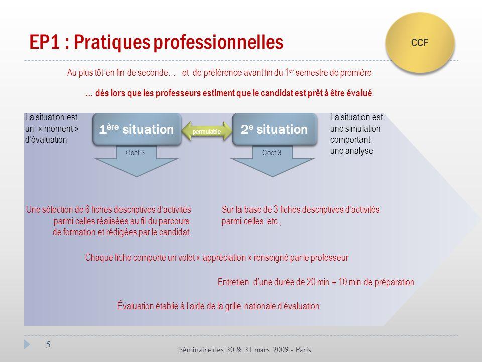 5 Séminaire des 30 & 31 mars 2009 - Paris EP1 : Pratiques professionnelles Au plus tôt en fin de seconde…et de préférence avant fin du 1 er semestre d