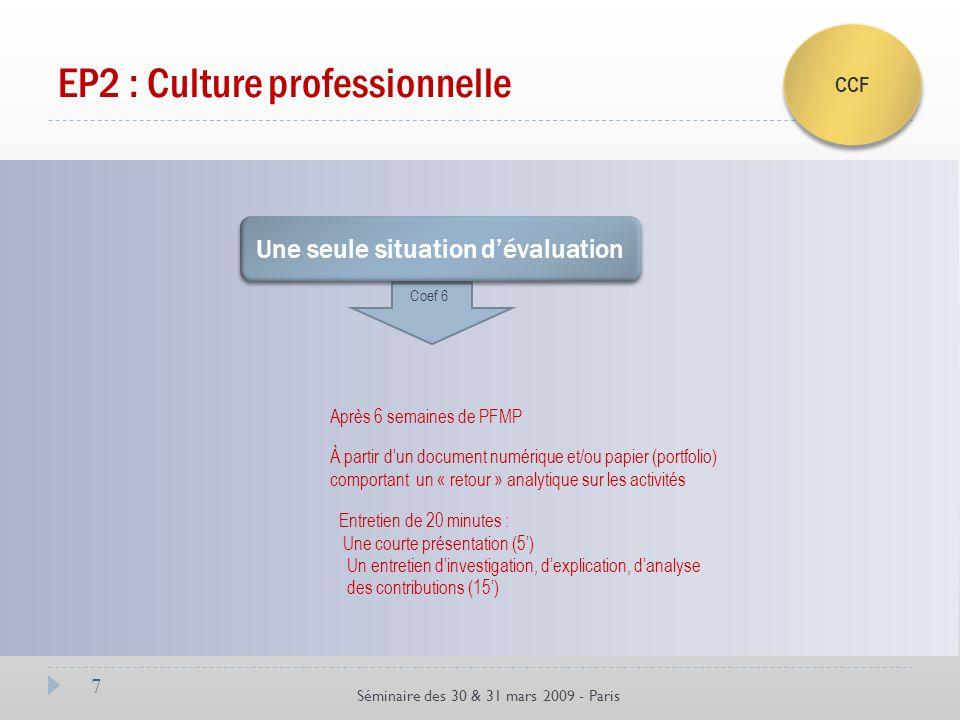 7 Séminaire des 30 & 31 mars 2009 - Paris EP2 : Culture professionnelle CCF Une seule situation dévaluation Coef 6 Après 6 semaines de PFMP Entretien