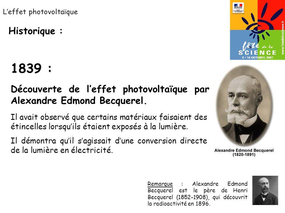 Leffet photovoltaïque Historique : Découverte de leffet photovoltaïque par Alexandre Edmond Becquerel. Remarque : Alexandre Edmond Becquerel est le pè