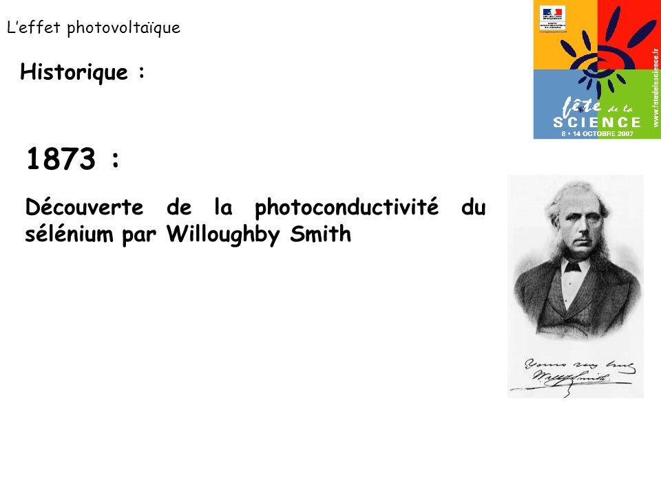 Leffet photovoltaïque Historique : Découverte de la photoconductivité du sélénium par Willoughby Smith 1873 :
