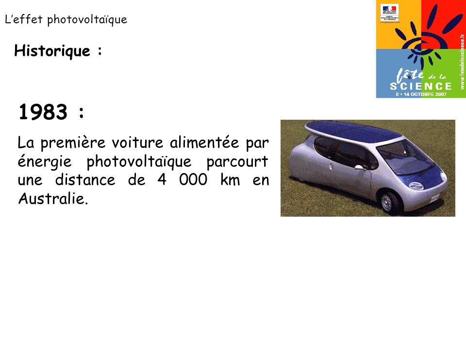 Leffet photovoltaïque Historique : 1983 : La première voiture alimentée par énergie photovoltaïque parcourt une distance de 4 000 km en Australie.