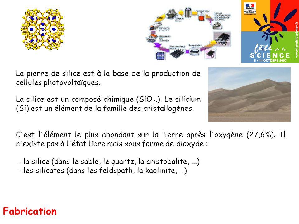 La pierre de silice est à la base de la production de cellules photovoltaïques. La silice est un composé chimique (SiO 2.). Le silicium (Si) est un él