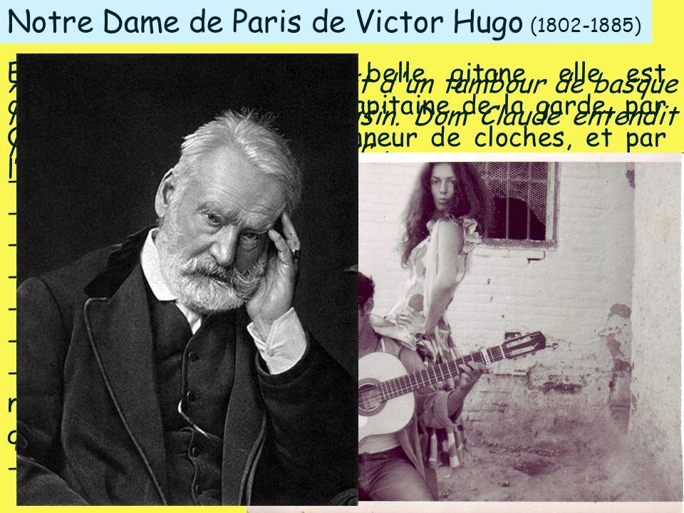 Notre Dame de Paris de Victor Hugo (1802-1885) Au détour d'une rue, le bruit d'un tambour de basque leur vint d'un carrefour voisin. Dom Claude entend