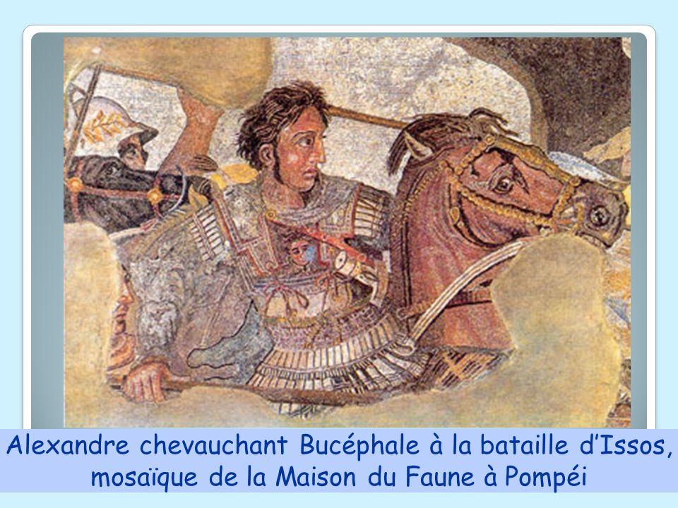 Alexandre chevauchant Bucéphale à la bataille dIssos, mosaïque de la Maison du Faune à Pompéi