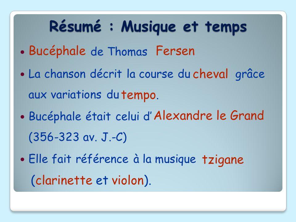 de Thomas La chanson décrit la course du grâce aux variations du Bucéphale était celui d (356-323 av. J.-C) Elle fait référence à la musique Bucéphale