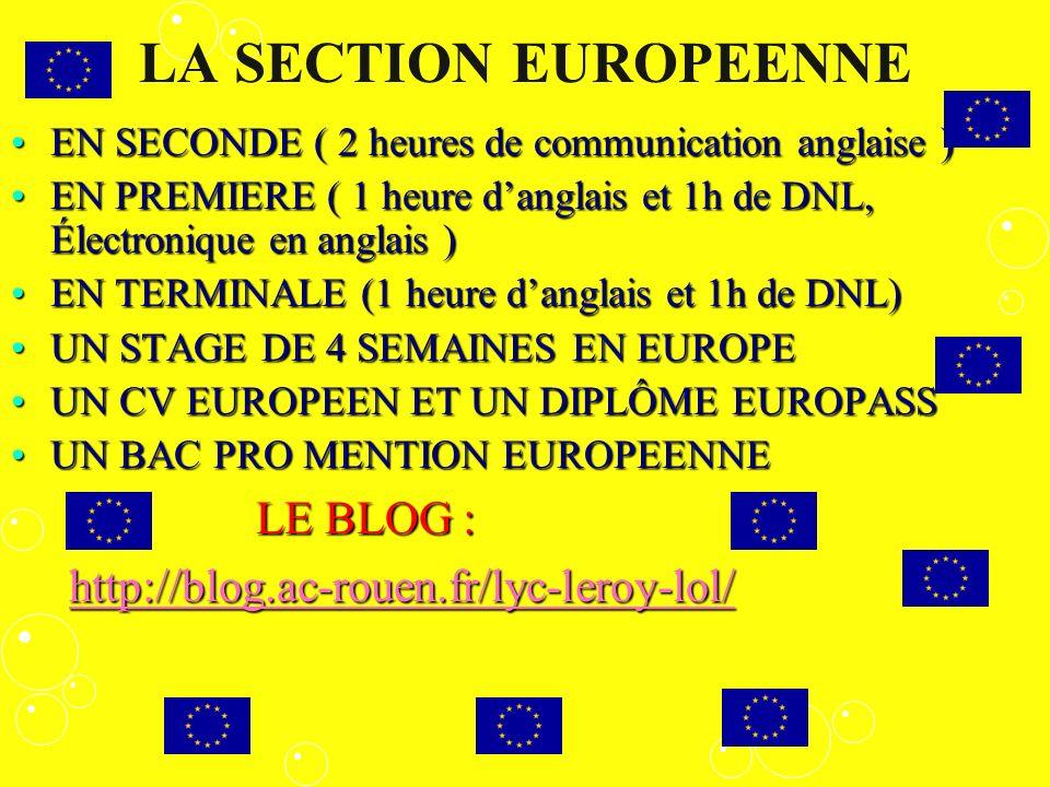 LA SECTION EUROPEENNE EN SECONDE ( 2 heures de communication anglaise )EN SECONDE ( 2 heures de communication anglaise ) EN PREMIERE ( 1 heure danglai