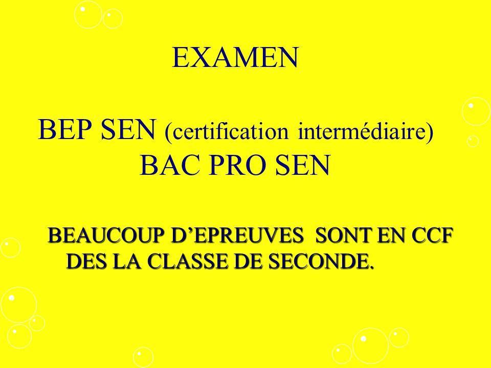 EXAMEN BEP SEN (certification intermédiaire) BAC PRO SEN BEAUCOUP DEPREUVES SONT EN CCF DES LA CLASSE DE SECONDE.