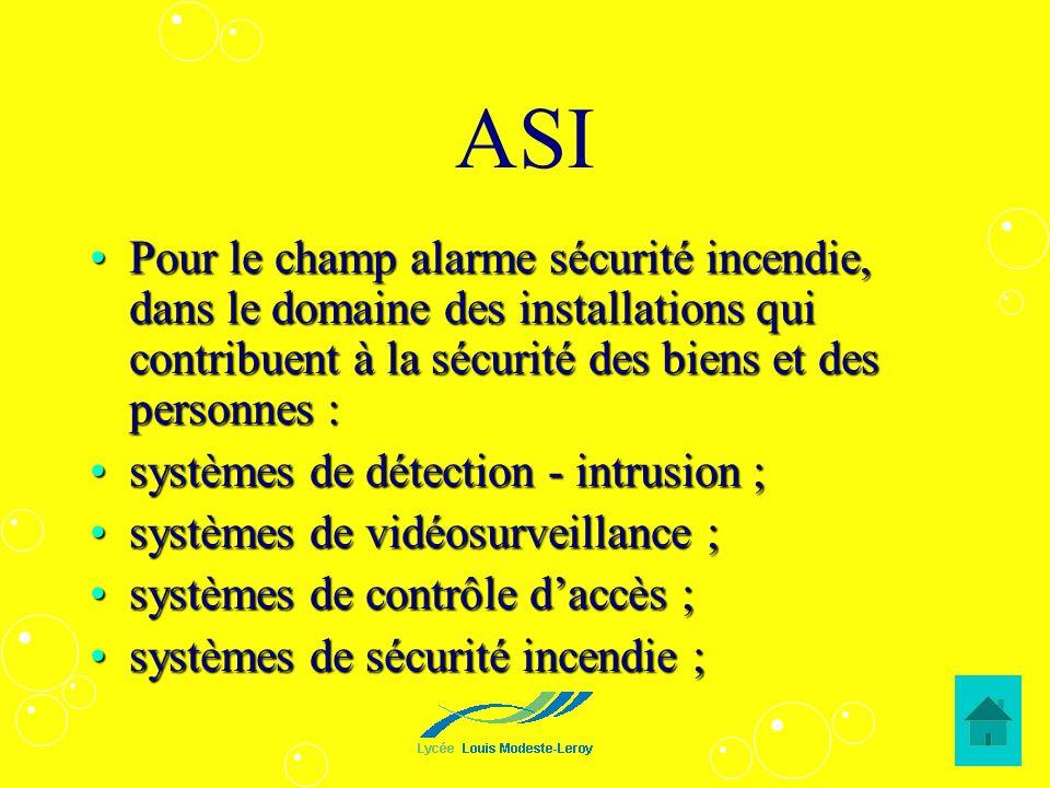 ASI Pour le champ alarme sécurité incendie, dans le domaine des installations qui contribuent à la sécurité des biens et des personnes :Pour le champ