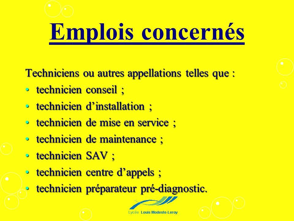 Emplois concernés Techniciens ou autres appellations telles que : technicien conseil ;technicien conseil ; technicien dinstallation ;technicien dinsta