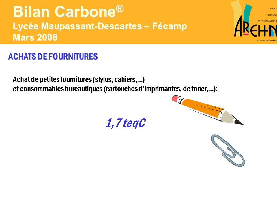 ACHATS DE FOURNITURES Achat de petites fournitures (stylos, cahiers,…) et consommables bureautiques (cartouches dimprimantes, de toner,…): 1,7 teqC Bi