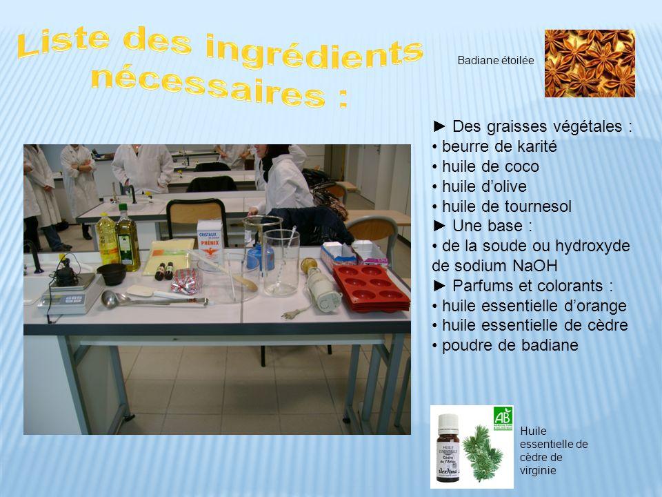 Des graisses végétales : beurre de karité huile de coco huile dolive huile de tournesol Une base : de la soude ou hydroxyde de sodium NaOH Parfums et