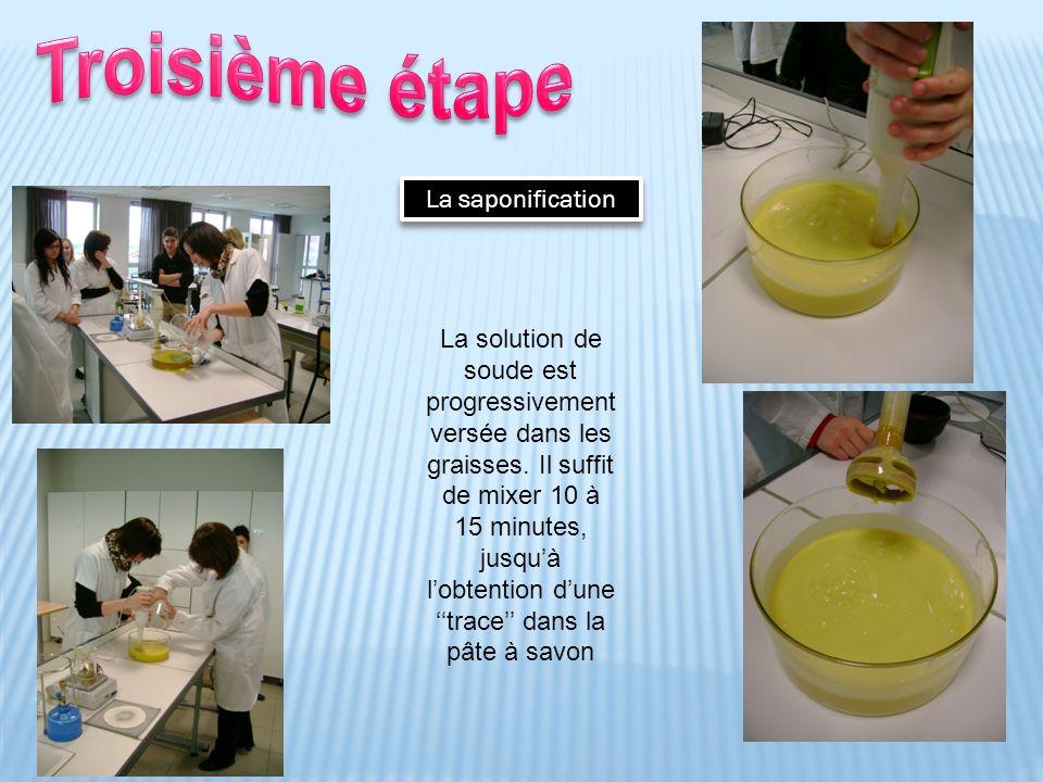 La saponification La solution de soude est progressivement versée dans les graisses. Il suffit de mixer 10 à 15 minutes, jusquà lobtention dune trace