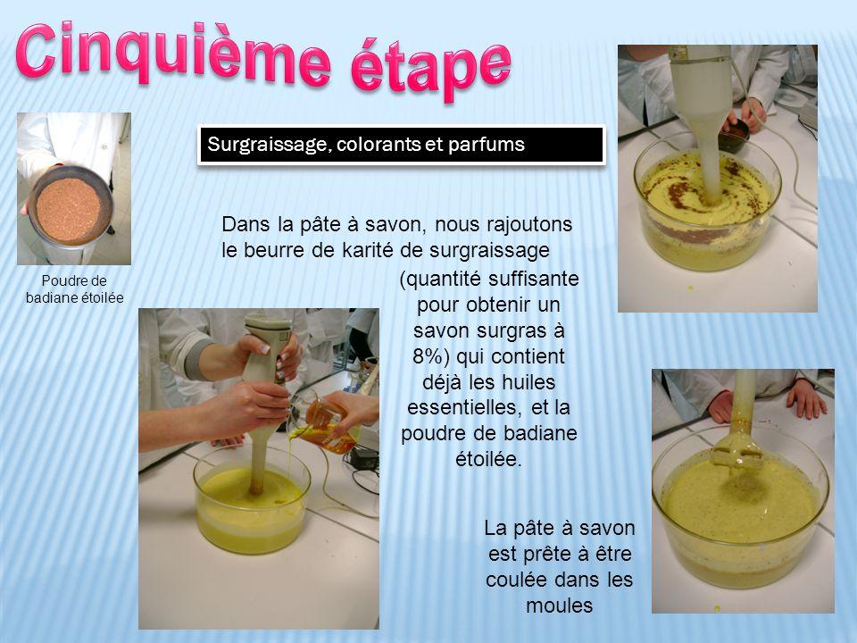 Surgraissage, colorants et parfums La pâte à savon est prête à être coulée dans les moules Poudre de badiane étoilée Dans la pâte à savon, nous rajout