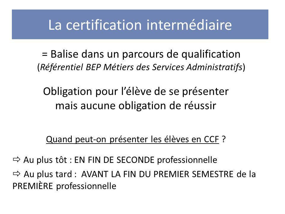 La certification intermédiaire = Balise dans un parcours de qualification (Référentiel BEP Métiers des Services Administratifs) Quand peut-on présente