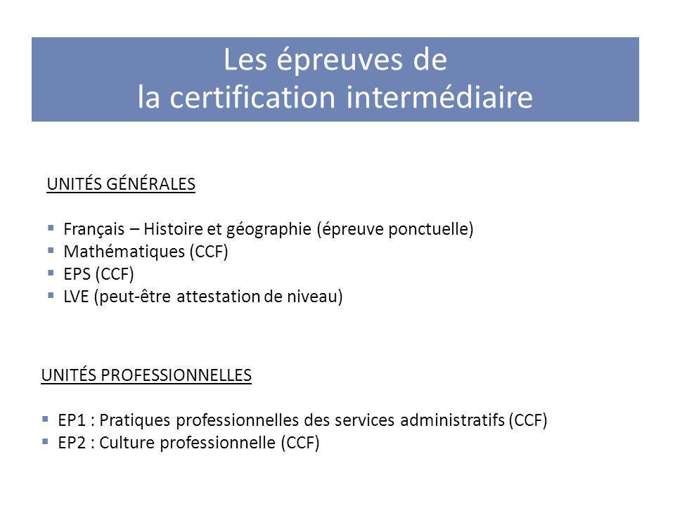 Les épreuves de la certification intermédiaire UNITÉS GÉNÉRALES Français – Histoire et géographie (épreuve ponctuelle) Mathématiques (CCF) EPS (CCF) L