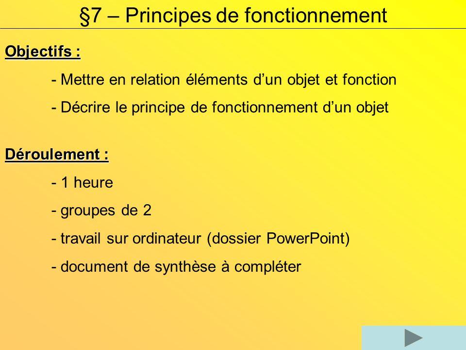 §7 – Principes de fonctionnement Objectifs : - Mettre en relation éléments dun objet et fonction - Décrire le principe de fonctionnement dun objet Déroulement : - 1 heure - groupes de 2 - travail sur ordinateur (dossier PowerPoint) - document de synthèse à compléter