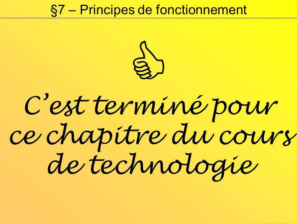 Cest terminé pour ce chapitre du cours de technologie §7 – Principes de fonctionnement