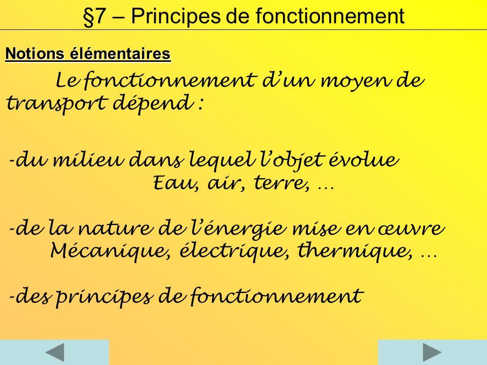 Notions élémentaires Le fonctionnement dun moyen de transport dépend : -du milieu dans lequel lobjet évolue Eau, air, terre, … -de la nature de lénergie mise en œuvre Mécanique, électrique, thermique, … -des principes de fonctionnement §7 – Principes de fonctionnement