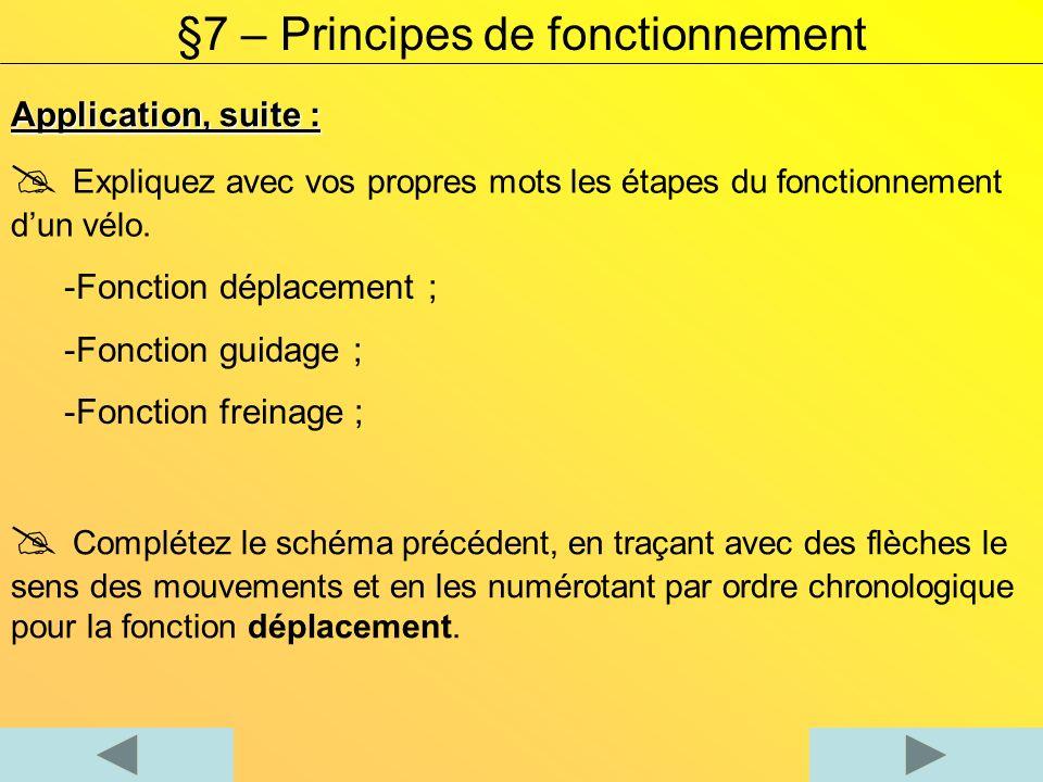 Application, suite : §7 – Principes de fonctionnement Associez les noms des composants listés aux éléments repérés sur le vélo.