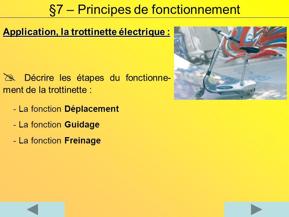 Application, la trottinette électrique - Suite : §7 – Principes de fonctionnement Complétez le tableau à laide de cinq éléments de la trottinette.