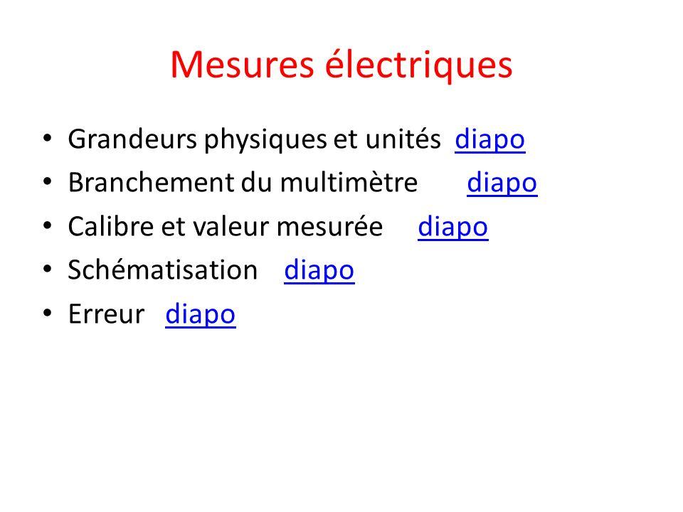 Mesures électriques Grandeurs physiques et unités diapodiapo Branchement du multimètre diapodiapo Calibre et valeur mesurée diapodiapo Schématisation