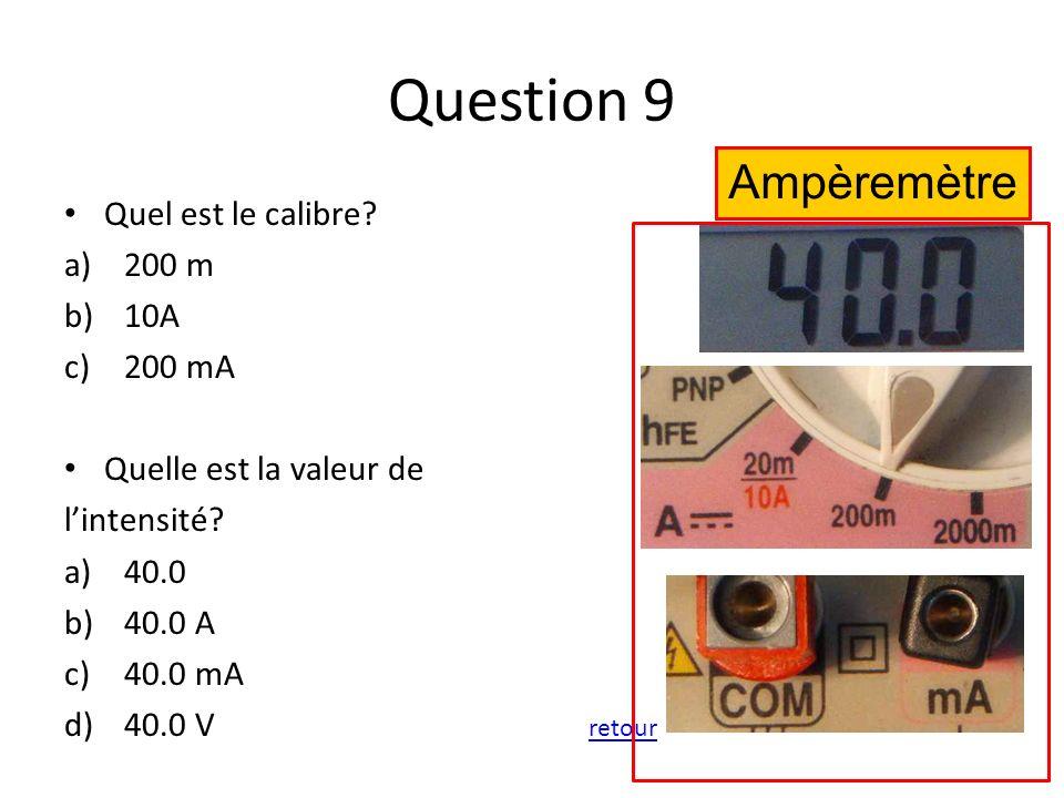 Question 9 Quel est le calibre? a)200 m b)10A c)200 mA Quelle est la valeur de lintensité? a)40.0 b)40.0 A c)40.0 mA d)40.0 V retour retour Ampèremètr