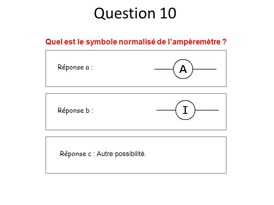 Réponse a : Réponse b : Réponse c : Autre possibilité. Quel est le symbole normalisé de lampèremètre ? Question 10