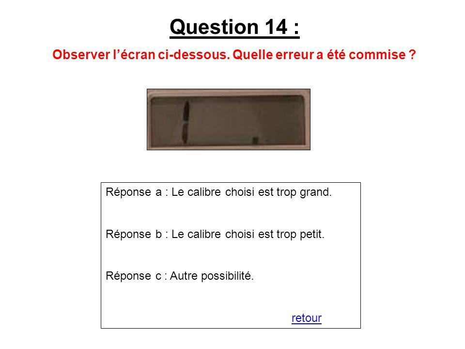 Question 14 : Observer lécran ci-dessous. Quelle erreur a été commise ? Réponse a : Le calibre choisi est trop grand. Réponse b : Le calibre choisi es