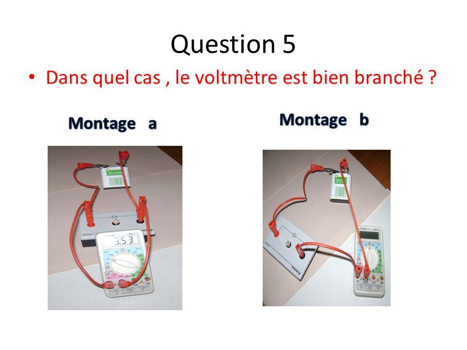 Réponse a :Réponse b : Quel montage correspond au branchement correct de lampèremètre ? Question 6
