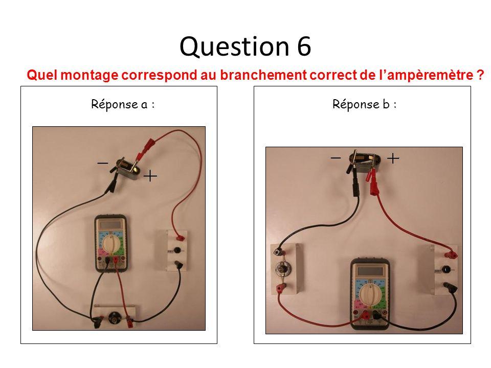 Question 7 Dans quel cas, les bornes du multimètre sont bien utilisées pour la fonction voltmètre.