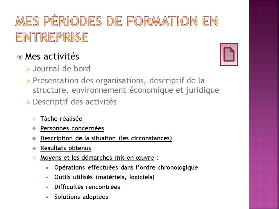 Mes activités Journal de bord Présentation des organisations, descriptif de la structure, environnement économique et juridique Descriptif des activit