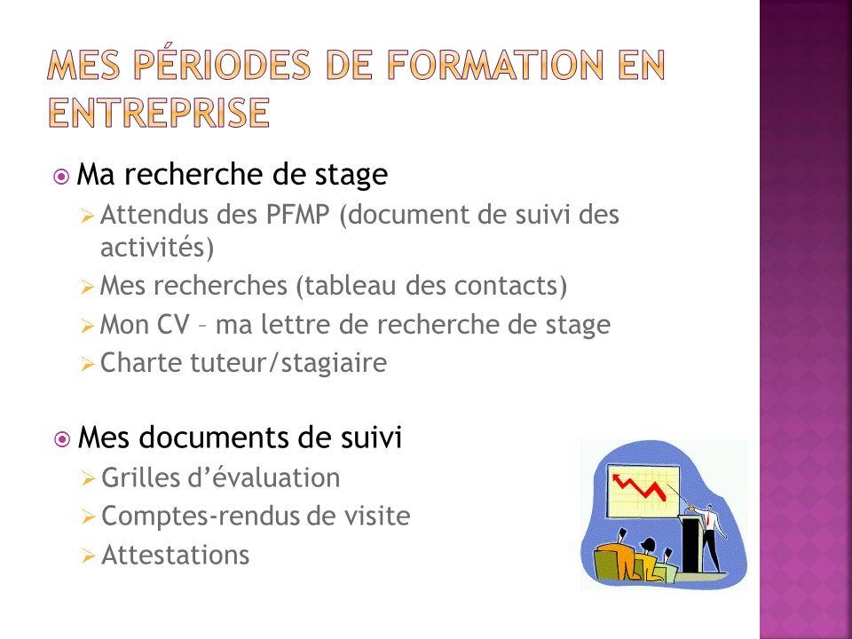 Ma recherche de stage Attendus des PFMP (document de suivi des activités) Mes recherches (tableau des contacts) Mon CV – ma lettre de recherche de sta