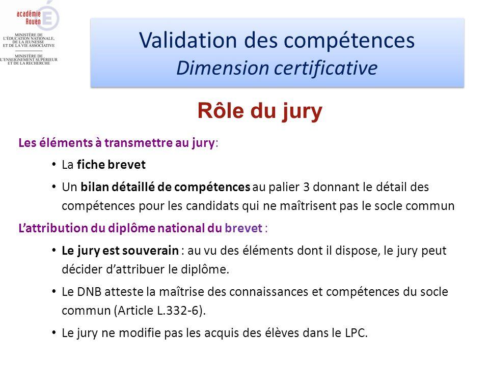 Validation des compétences Dimension certificative Validation des compétences Dimension certificative Les éléments à transmettre au jury: La fiche bre