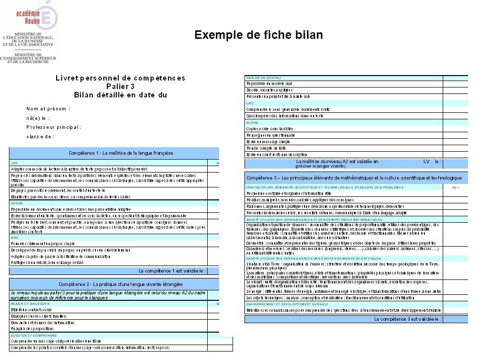 Exemple de fiche bilan