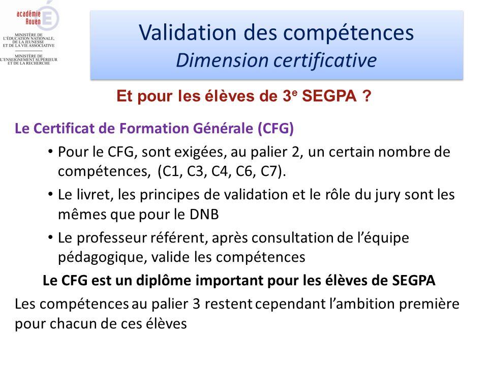 Validation des compétences Dimension certificative Validation des compétences Dimension certificative Le Certificat de Formation Générale (CFG) Pour le CFG, sont exigées, au palier 2, un certain nombre de compétences, (C1, C3, C4, C6, C7).