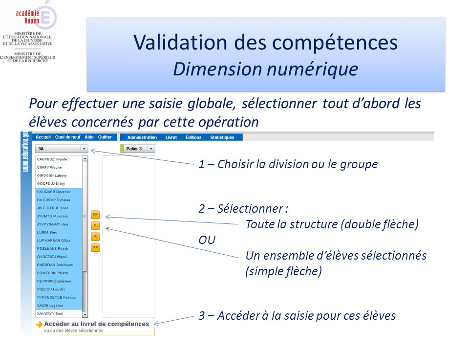 Validation des compétences Dimension numérique Validation des compétences Dimension numérique Pour effectuer une saisie globale, sélectionner tout dab
