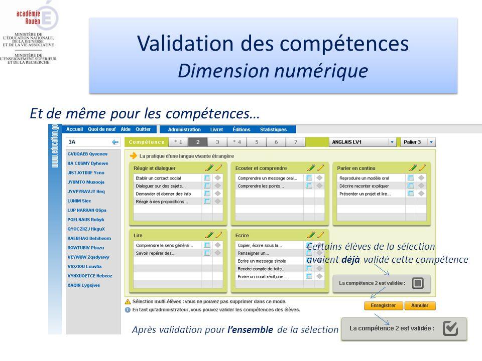 Validation des compétences Dimension numérique Validation des compétences Dimension numérique Et de même pour les compétences… Certains élèves de la sélection avaient déjà validé cette compétence Après validation pour lensemble de la sélection