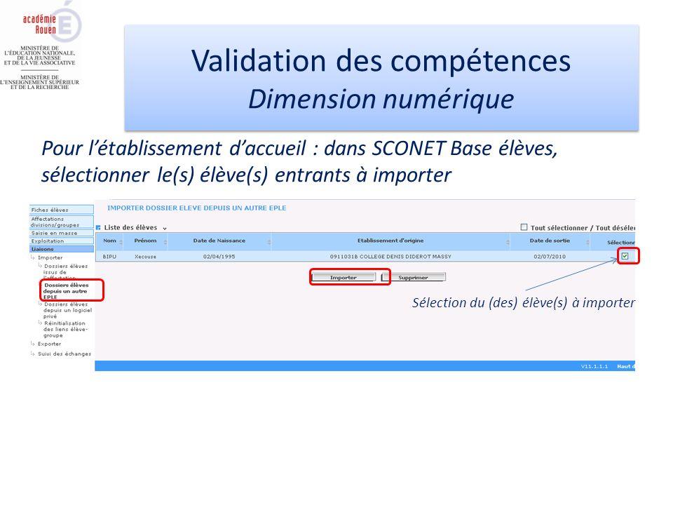 Validation des compétences Dimension numérique Validation des compétences Dimension numérique Pour létablissement daccueil : dans SCONET Base élèves,