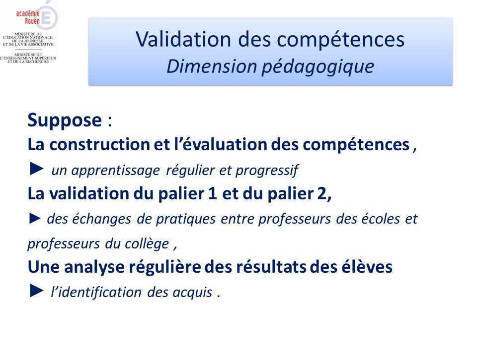 Suppose : La construction et lévaluation des compétences, un apprentissage régulier et progressif La validation du palier 1 et du palier 2, des échang