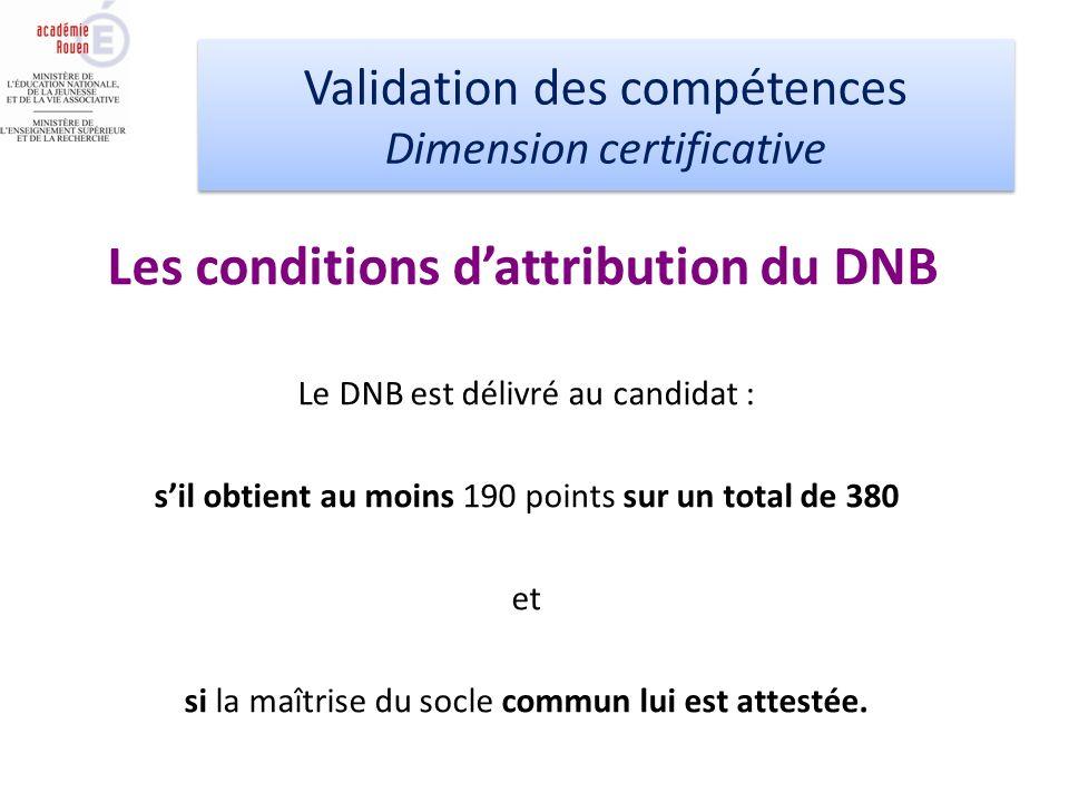 Validation des compétences Dimension certificative Validation des compétences Dimension certificative Le DNB est délivré au candidat : sil obtient au