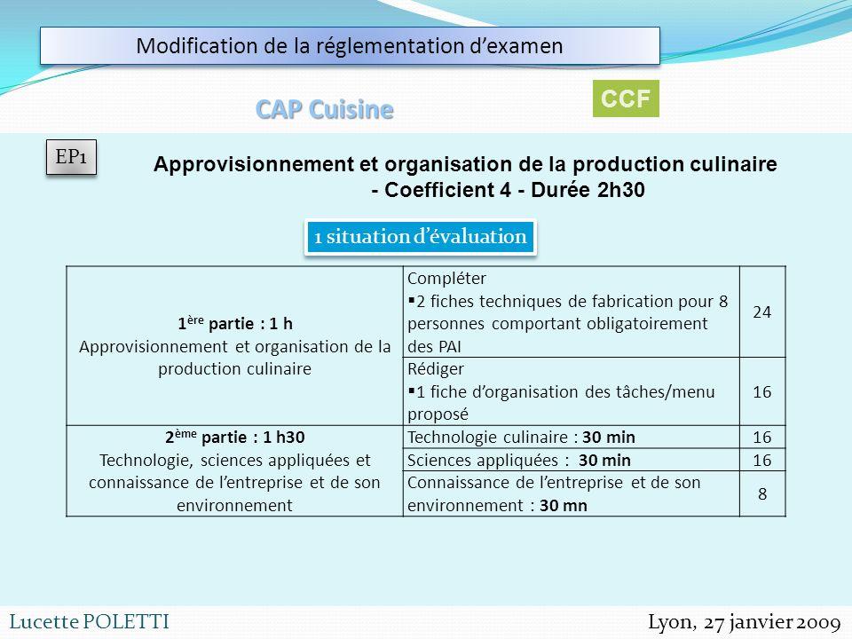 Lyon, 27 janvier 2009Lucette POLETTI 1 Modification de la réglementation dexamen CAP Cuisine EP1 Approvisionnement et organisation de la production cu