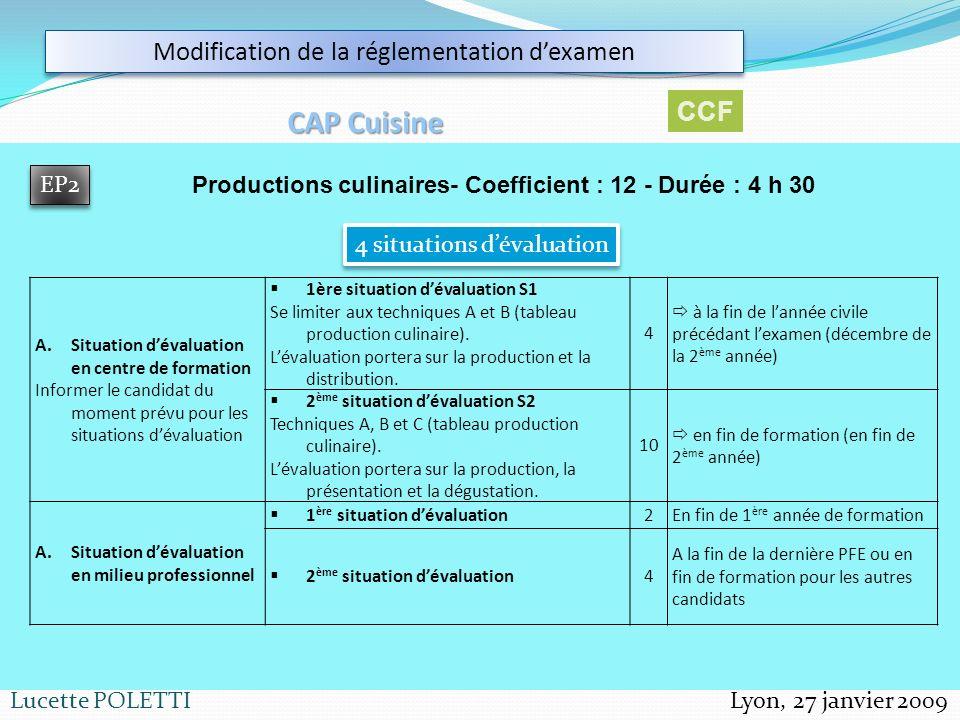 Lyon, 27 janvier 2009Lucette POLETTI Modification de la réglementation dexamen CAP Cuisine EP2 Productions culinaires- Coefficient : 12 - Durée : 4 h