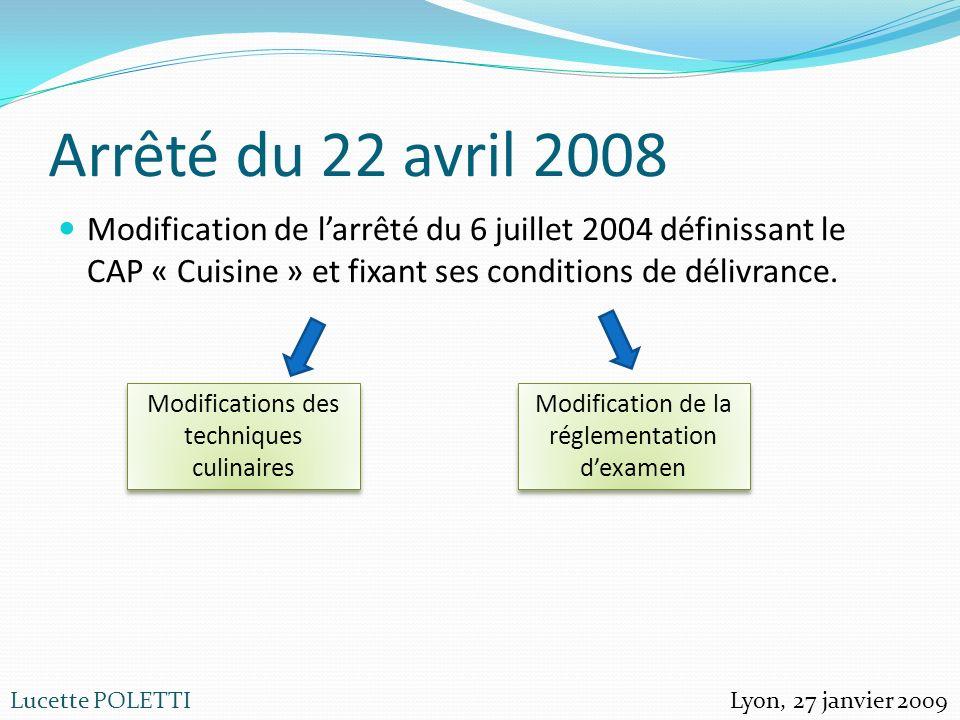 Lucette POLETTI Arrêté du 22 avril 2008 Modification de larrêté du 6 juillet 2004 définissant le CAP « Cuisine » et fixant ses conditions de délivranc