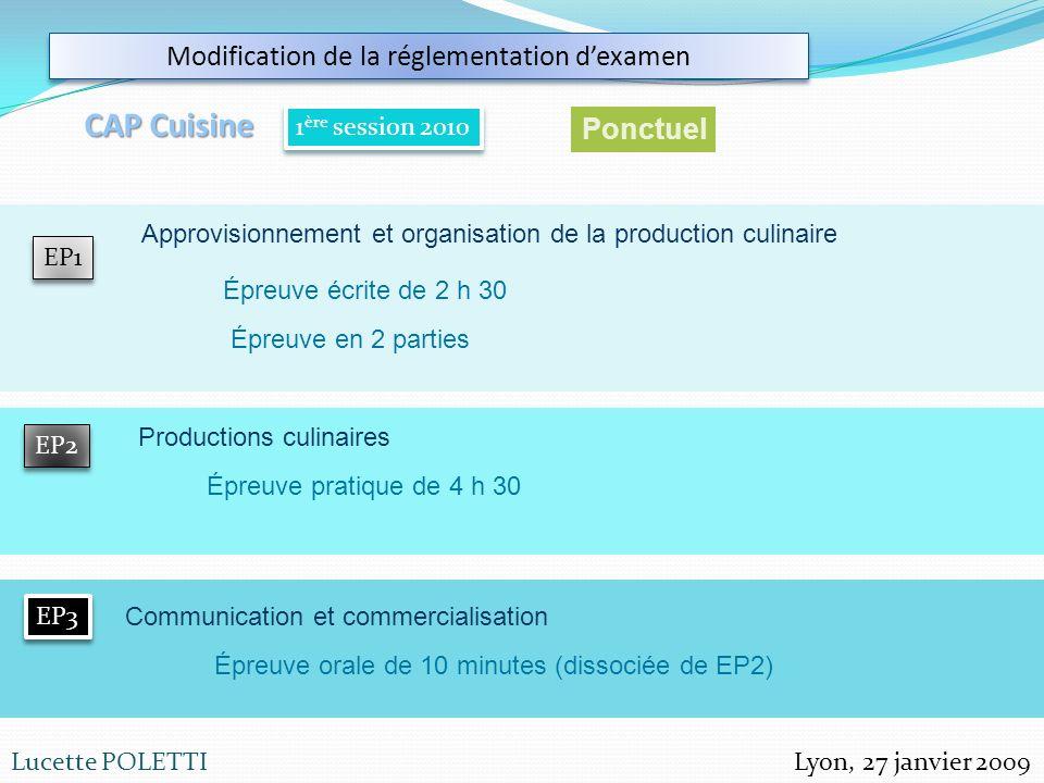 Lyon, 27 janvier 2009Lucette POLETTI Modification de la réglementation dexamen CAP Cuisine 1 ère session 2010 EP1 EP2 EP3 Ponctuel Approvisionnement e