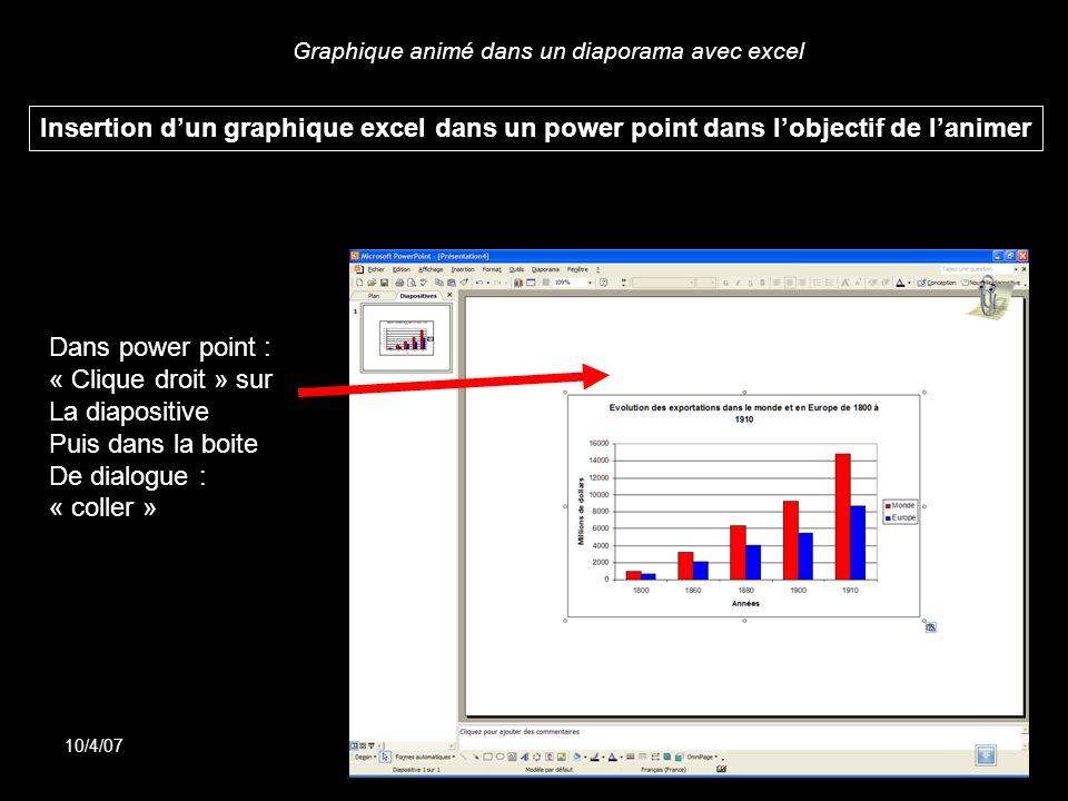 Graphique animé dans un diaporama avec excel 10/4/07Doublier Insertion dun graphique excel dans un power point dans lobjectif de lanimer Dans power po