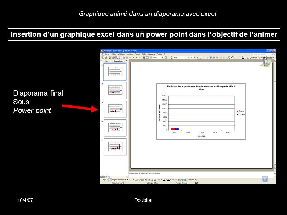 Graphique animé dans un diaporama avec excel 10/4/07Doublier Insertion dun graphique excel dans un power point dans lobjectif de lanimer Diaporama fin