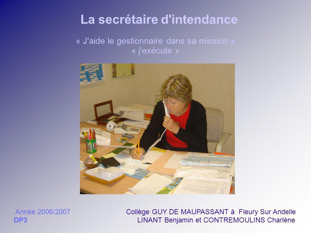 La secrétaire d'intendance « J'aide le gestionnaire dans sa mission » « j'exécute » Année 2006/2007 Collège GUY DE MAUPASSANT à Fleury Sur Andelle DP3